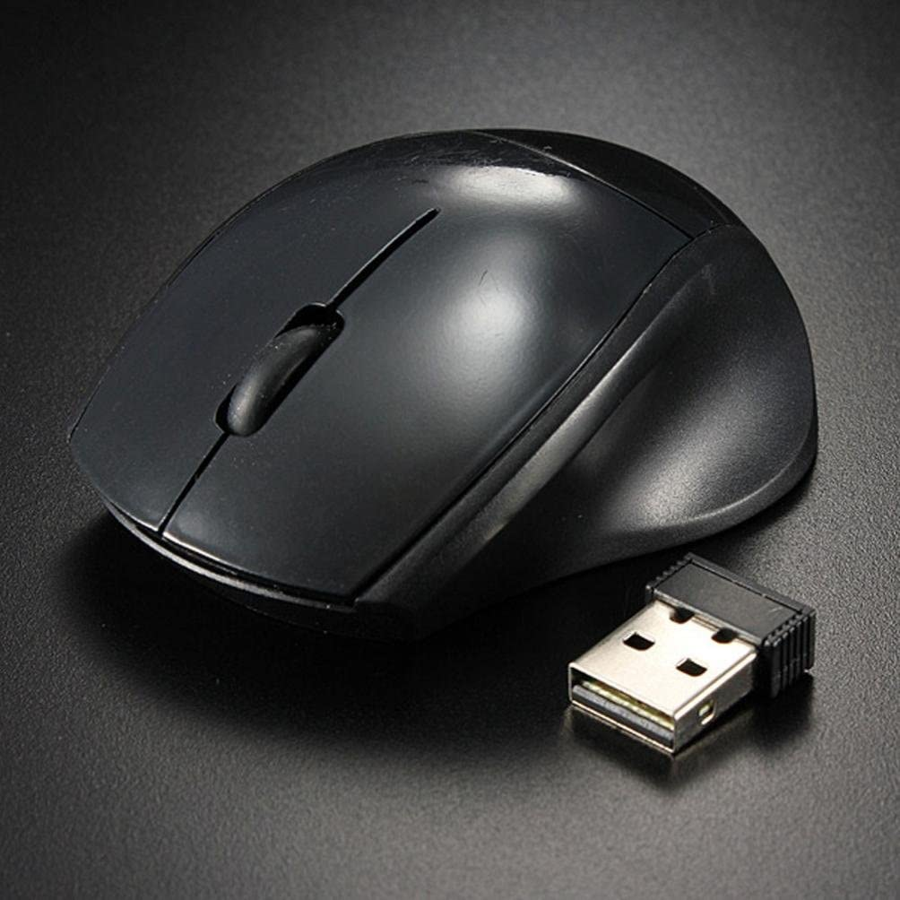 WILLTOO 2.4GHz Mice Optical Mouse Cordless USB Receiver PC Computer Wireless for Laptop Black