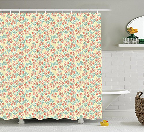 [Flower Decor Shower Curtain Tulips Cup Shaped Bell Blossoms Spring Garden Themed French Country Style Art Polyester Fabric Bathroom Set with Hooks Yellow and] (World Country Themed Costumes)