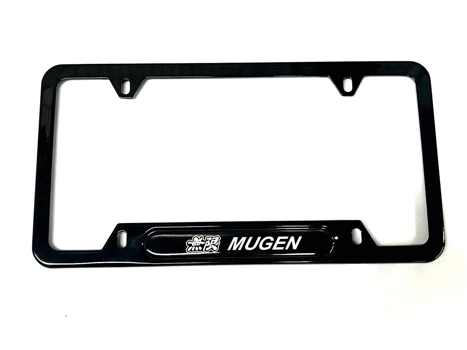 1 Black Auteal Car Stainless Steel Metal Mugen JDM License Plate Tag Frame Cover Holders w//Caps Screws for Civic