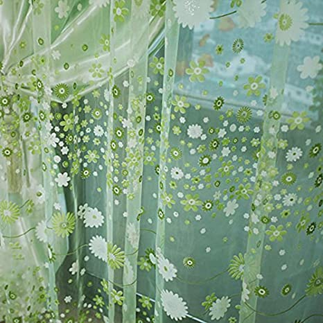 Rose Voilage Rideau en Voile Paravent Motif de Fleurs de Campagne pour Porte Fen/être Balcon 200cm x 100cm