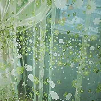 Sharplace 2pcs Landhaus Stil, Floral Tüll Voile Gardine, Transparent  Vorhang, Für Sommer Wohnzimmer
