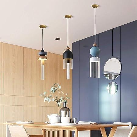 Hao_zhuokun Lámpara colgante Lámpara de una sola cabeza de pasillo Bar Corredor Escalera lámpara del arte creativo Macaron decoración del techo de la lámpara pendiente de la luz 15x48cm (Tamaño: B) No: