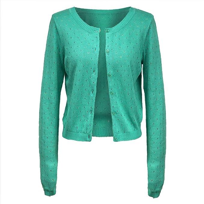 345b51c46e MMDLINA Womens Linen Lightweight Open Front Button Down Hollow Out Long  Sleeve Knit Cardigan Sweater Green