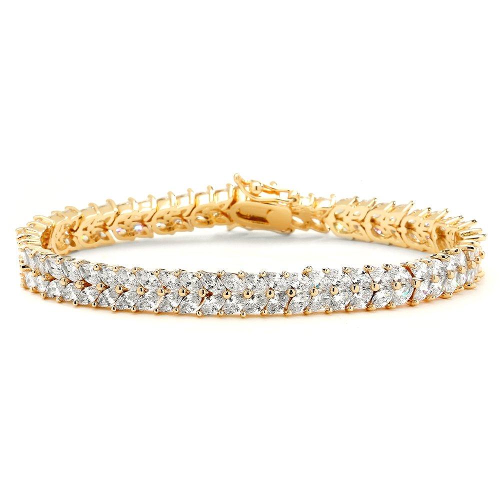 Mariell Cubic Zirconia 14K Gold Plated Tennis Bracelet Women - Bridal, Wedding Everyday Jewelry