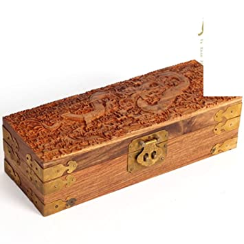 Bubinga madera caoba joyero antiguos Alhajeros de madera sólida caja de almacenamiento decorada con dragones y joyero pequeño regalo de boda-C: Amazon.es: ...