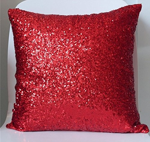 ShinyBeauty Red-Sequin Pillow Case-18x18-Inch,Sequin Pillow Cushion Cover Glitter Sequins Throw Pillow Cases For Christmas/Halloween Party Decoration ()