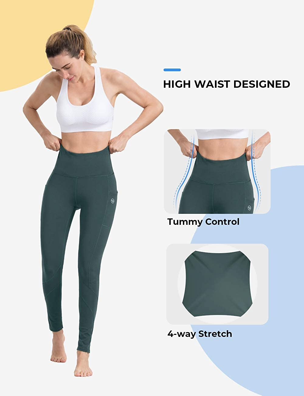 Womens Tummy Control Yoga Pants High Waist Workout Elastic Fitness Sports Leggings I613 Yoga Pants with Pockets