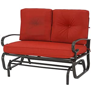 Crownland Outdoor Patio Glider Rocking Bench,Porch Furniture Glider Loveseat Seating,Wrought Iron Chair Set with Cushion, Red