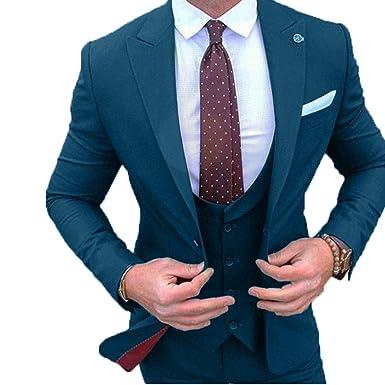 YSMO Herren Slim Fit Smoking 3 Stück Anzüge Jacke   Pants   Weste Hochzeit  Blazer  Amazon.de  Bekleidung ea9f2c0677