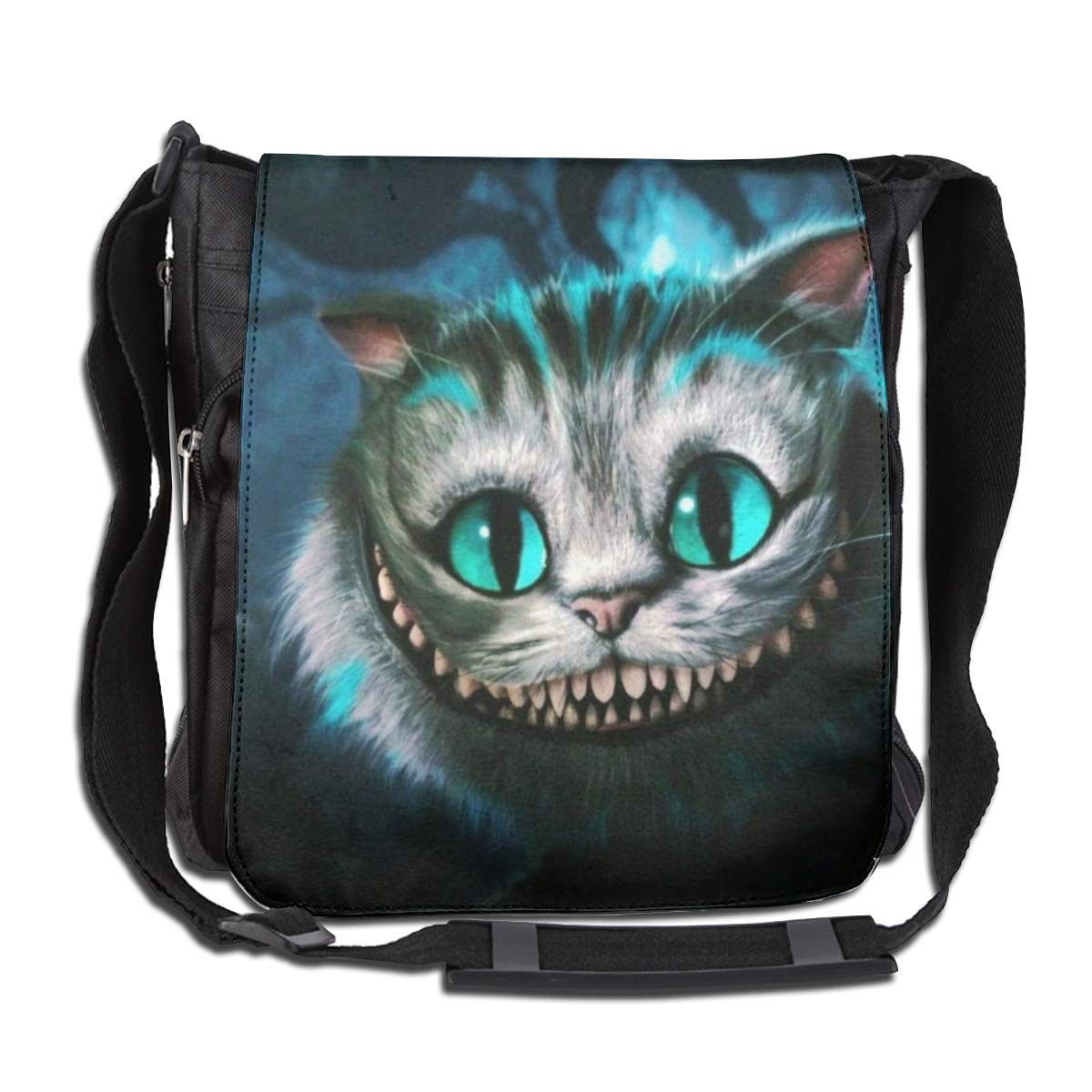 Unisex The Che-sh-ire Cat Printed Vertical Crossbody Single Shoulder Bag With Mini Adjustable Strap Travelling Bag