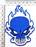 Blue SKULL Blue Flame Ghost Skull Skeleton Bone Day of the Dead patch Motorcyle Bike Novelty Tattoo patch Motorcycle Bike Iron patch / Sew On Patch Clothes Bag T-Shirt Jeans Biker Badge Applique