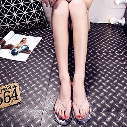 Top-Sell Mujer Flip Flops Plancha Anti Deslizamiento Baño Zapatillas Impermeable Transparente Sandalias Verde