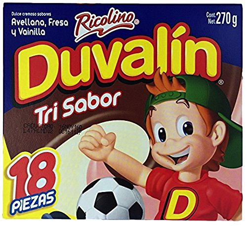 Duvalin Candy (Duvalin Trisabor Hazelnut, Strawberry, Vanilla (18 pcs) Authentic Mexican Candy with Free Chocolate Kinder Bar Included)