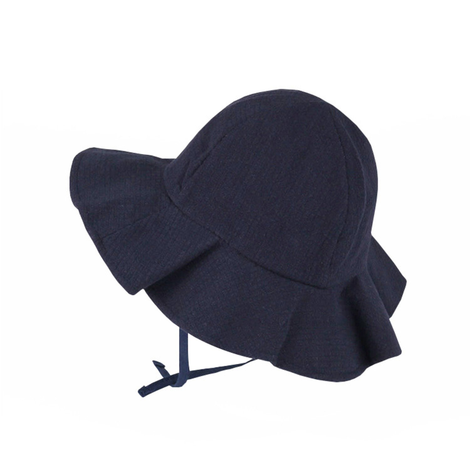 50+ UPF Floppy Hat for Kid Chin Strap Sun Protection Hat Breathable Brim Bucket Hat Adjustable for Grow (21.06, Dark Blue)