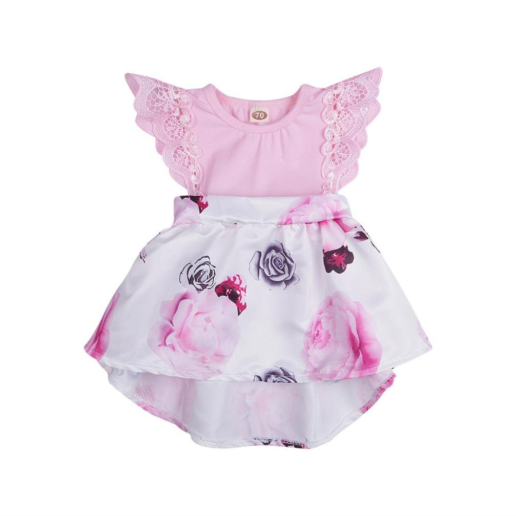 Toddler Infant Kids Baby Girls Dress Floral Print Lace Princess Dresses Outfits