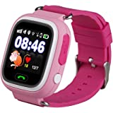 Bambini Smartwatch 1.22 pollici touch screen GPS Tracker SOS Anti-perso Bambini Orologio Finder sicurezza Monitor (Rosa)
