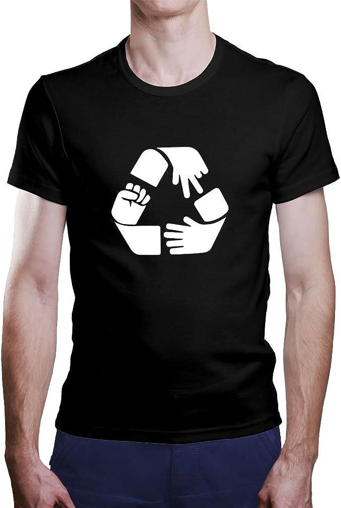 OKAPY Camiseta Piedra, Papel, Tijeras y Reciclaje. Una Camiseta de ...