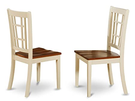 East West Furniture NIC-WHI-W Dining Chair Set with Wood Seat, Buttermilk Cherry Finish, Set of 2