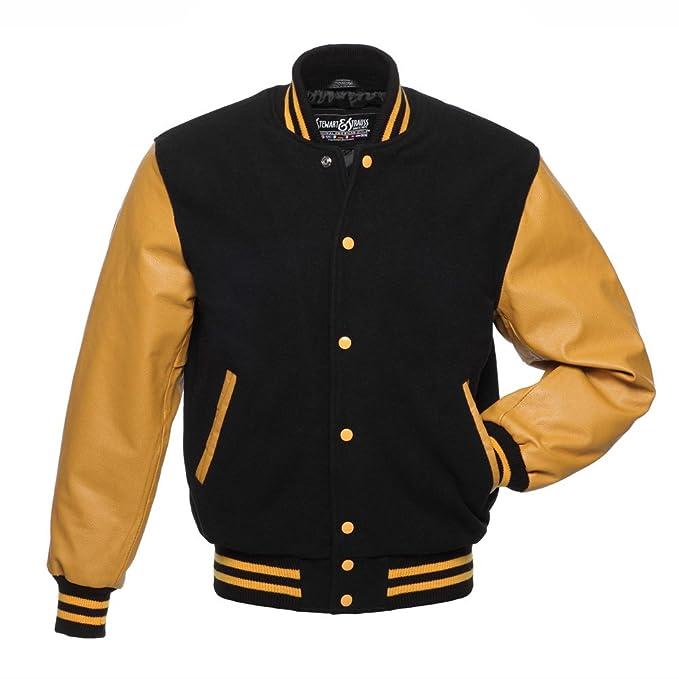 e205a4a2d7e Stewart & Strauss C134-S Black Wool Gold Leather Varsity Jacket Letterman  Jacket