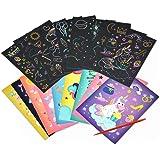 Scratch Artcards Set for Kids - Scratch Paper Art Kit with Scratch Stick,Craft Art Pack Scratch Off Arts,Birthday Gifts Child