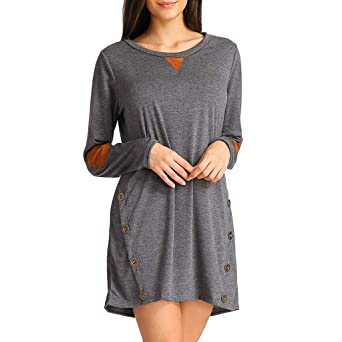 ANJUNIE Women Swing Dress Casual Button Side Tops Tunic Long Sleeve Round Neck Mini Dress at Amazon Womens Clothing store:
