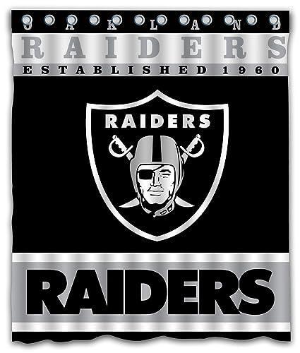 Sonaby Custom Oakland Raiders Waterproof Fabric Shower Curtain For Bathroom Decoration 60x72 Inches