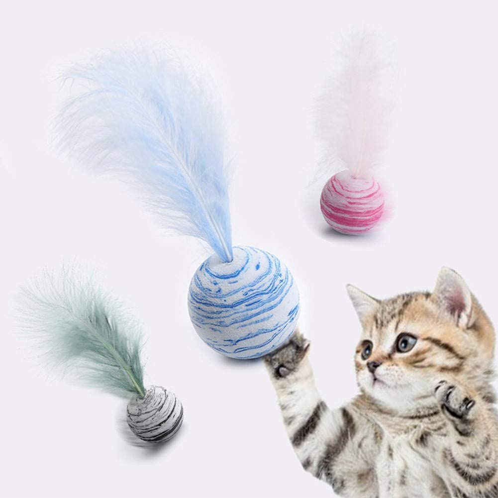 Ruipunuosi Colorful Sponge Ball Cats Toy With Feathers Kitten Interactive Toy 1Pc