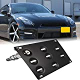 GTP JDM Style Front Bumper Tow Hook License Plate Mounting Bracket Holder Relocator for Nissan 370Z Z34 GTR R35 Sentra…