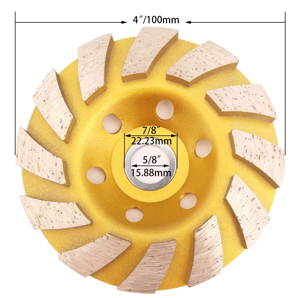 12-Segment Meacase 4 inch Turbo Row Diamond Cup Grinding Wheel for Concrete Masonry Granite Marble with 7//8-5//8 Arbor