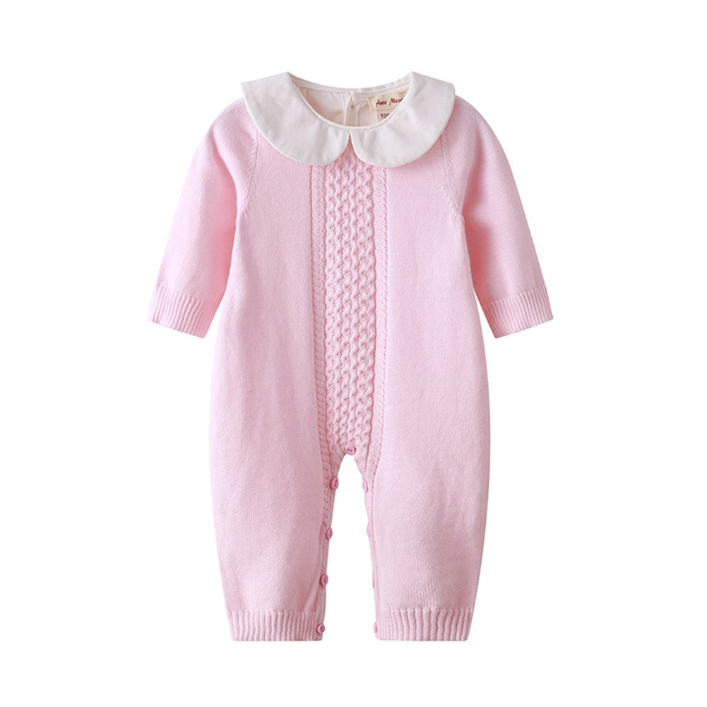 Auro Mesa Infant Baby Peter pan Collar Knitted Clothes Baby Outfits Baby Jumpsuit Pink, Blue