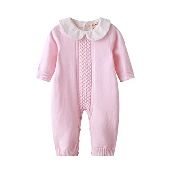 cbfdab6d7 Baby Boy Girl Long Sleeve Peter Pan Collar Knit Romper Newborn Boy Outfit  Clothes Twin Baby
