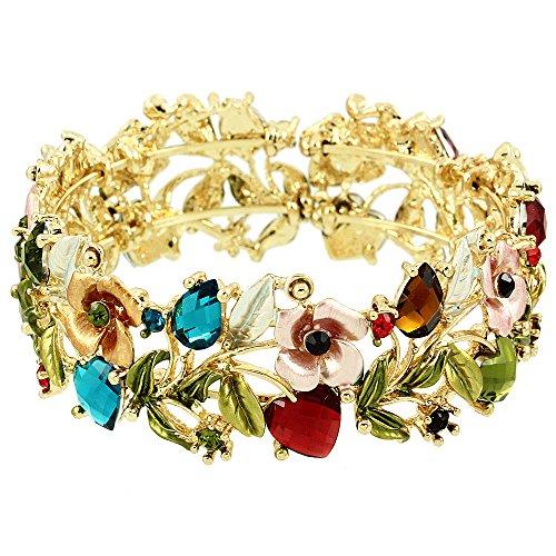 Falari Vintage Flower Bracelet Bangle Crystal Beads Hand-Painted Multi BG401-GMT