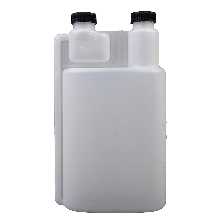 Consolidated Plastics 41396 HDPE Graduated Dispenser with Caps, 32 oz, Natural, 12 Piece
