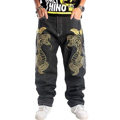 Yujeet Hip Hop Baggy Jeans para Hombre Pantalones Bordados ...