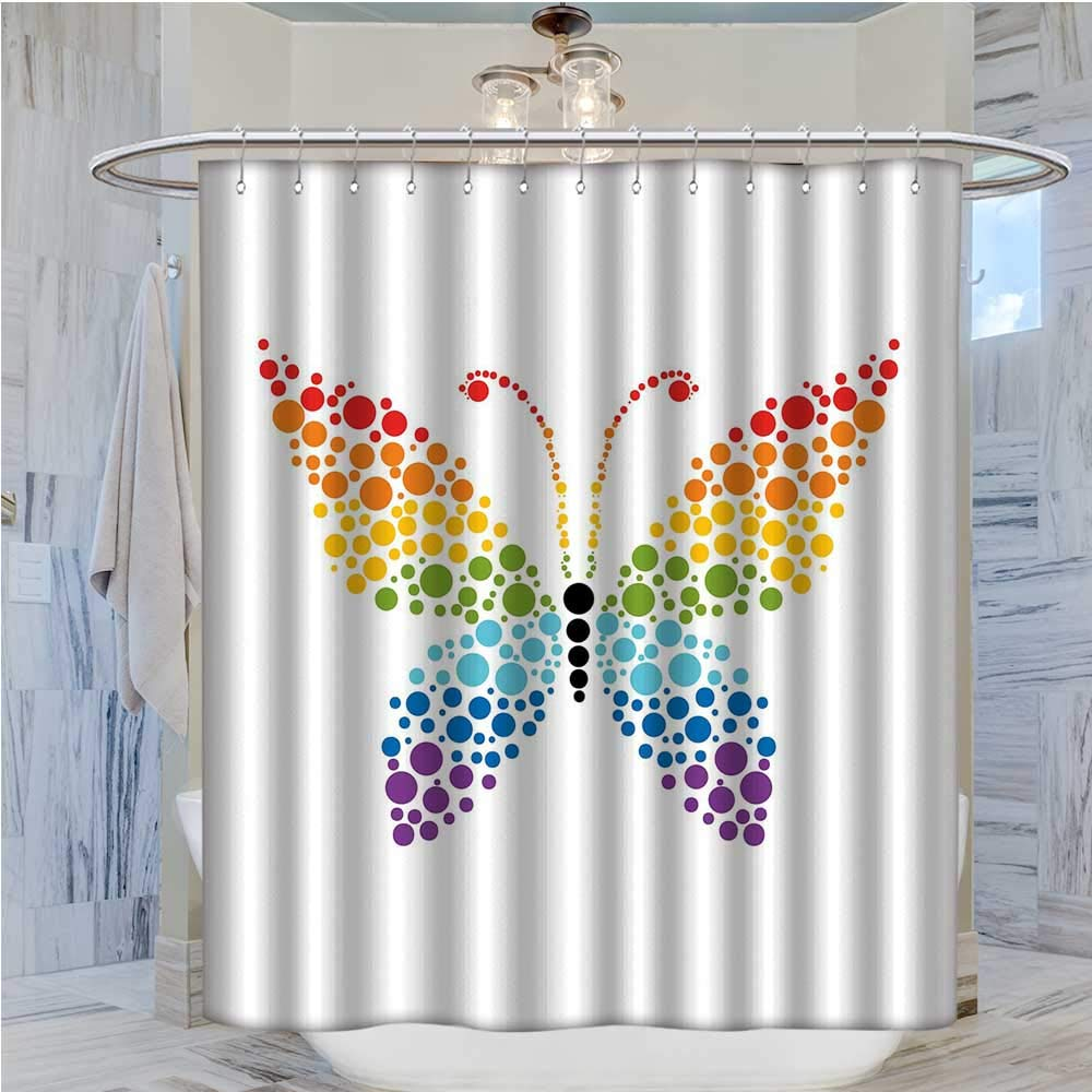 BlountDecor Rainbow Shower Curtains 3D Digital Printing A Butterfly Made Out Of Colored Dots Nature Shapes Circle Life Dot Art Custom
