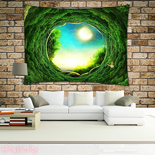 Ufelicity Creative Wall Tapestry Hanging Wall Decor Unique Design Wall Hanging Fantasy View of Tree Holes with Yellow Butterfly Wall Tapestry for Bedroom Living Room Dorm, 60
