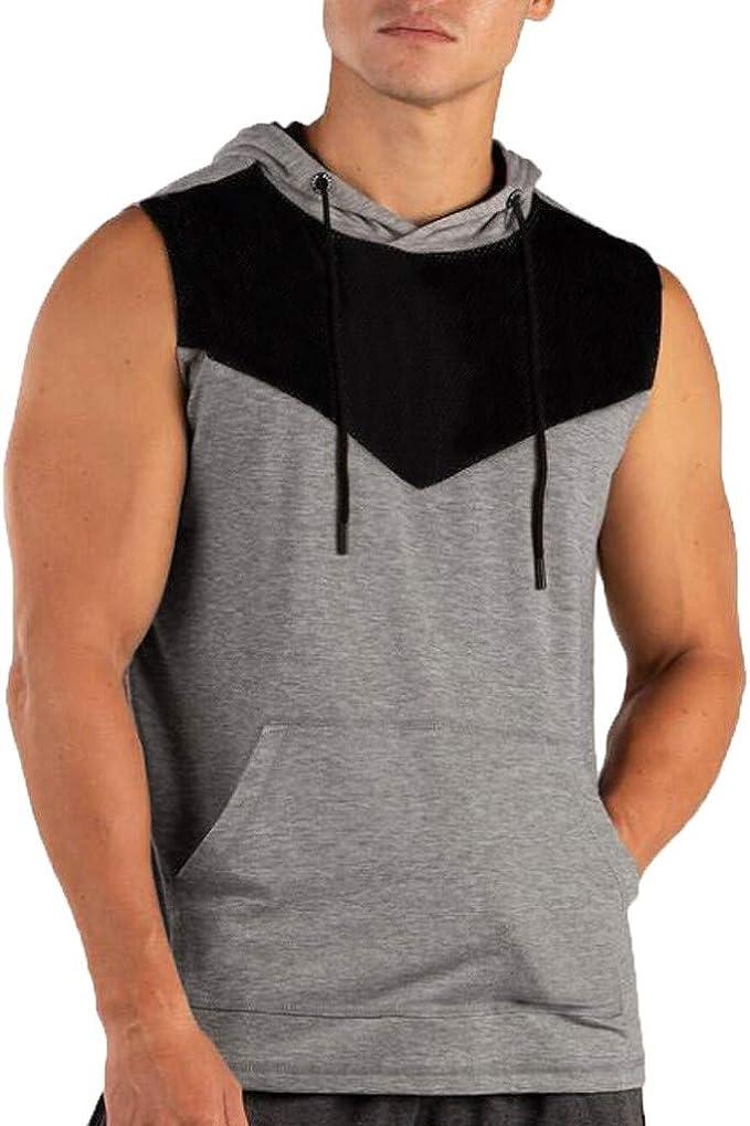Roiper Débardeur T Shirt Homme à Capuche sans Manches Haut