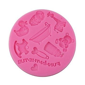 iGoodCake Molde de Silicona para Fondant Baby Shower Redondo: Amazon.es: Hogar
