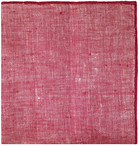 Maroon Linen with Brown Horn Button Men's Pocket Square by The Detailed Male by The Detailed Male (Image #2)
