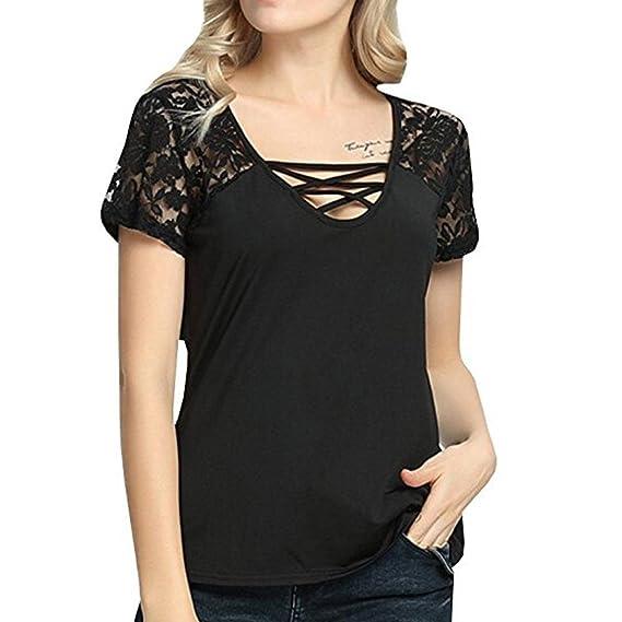 Koly Mujeres Camisetas y tops Atractivas del Verano V-Cuello Encaje Criss Cross Hombro de