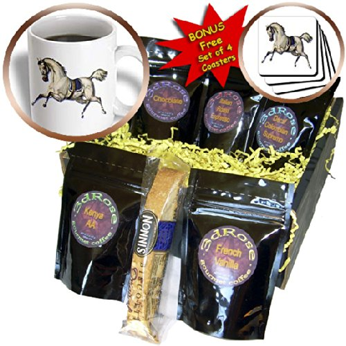 cgb_180190_1 BLN Victorian Pets and Animals Collection - Victorian White Horse Galloping Wearing a Blue Blanket Saddle - Coffee Gift Baskets - Coffee Gift Basket