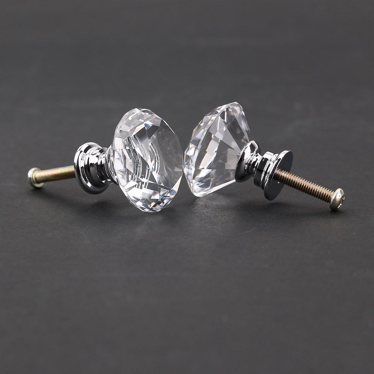 8pcs Pomo de Cristal Vidrio Transparente Tiradores para Puertas Cajones Manilla 4mm de Diamante