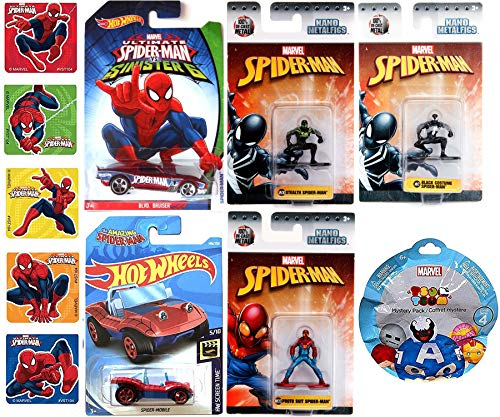 Web Figures & cars Spider-Man Mini Collection Die-Cast Metal NanoFig 3-Pack Black Costume / Proto Suit & Stealth + Tsum & Super Wheels Ultimate Sinister 6 Bruiser & Buggy Mobile Hero Car + Stickers