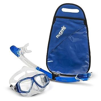Set de snorkel ProDive prémium con parte superior seca - Máscara de buceo de vidrio templado