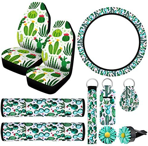 10 Pieces Cactus Print Car Accessories 2 Pieces Cactus Car Seat Covers 2 Pieces Seat Belt Cover Shoulder Pads Steering Wheel Cover 2 Pieces Car Vent Clips and 3 Pieces Cactus Print Key Rings