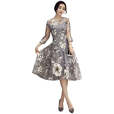 Floral Print Summer Dress Women O Neck Flare Sleeve Mini Dress Vintage Office Lace Dress Vestidos