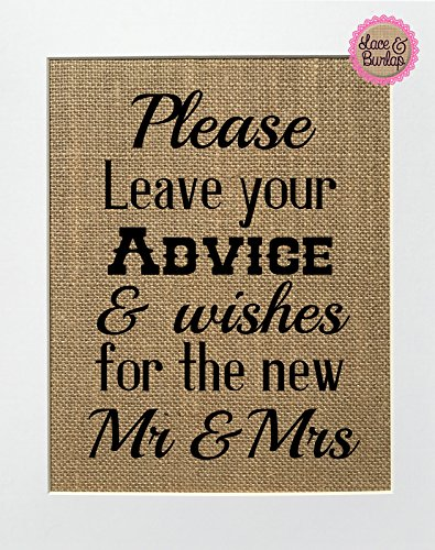 Please Leave Your Advice  Wishes For The New Mr  Mrs – BURLAP SIGN 8×10