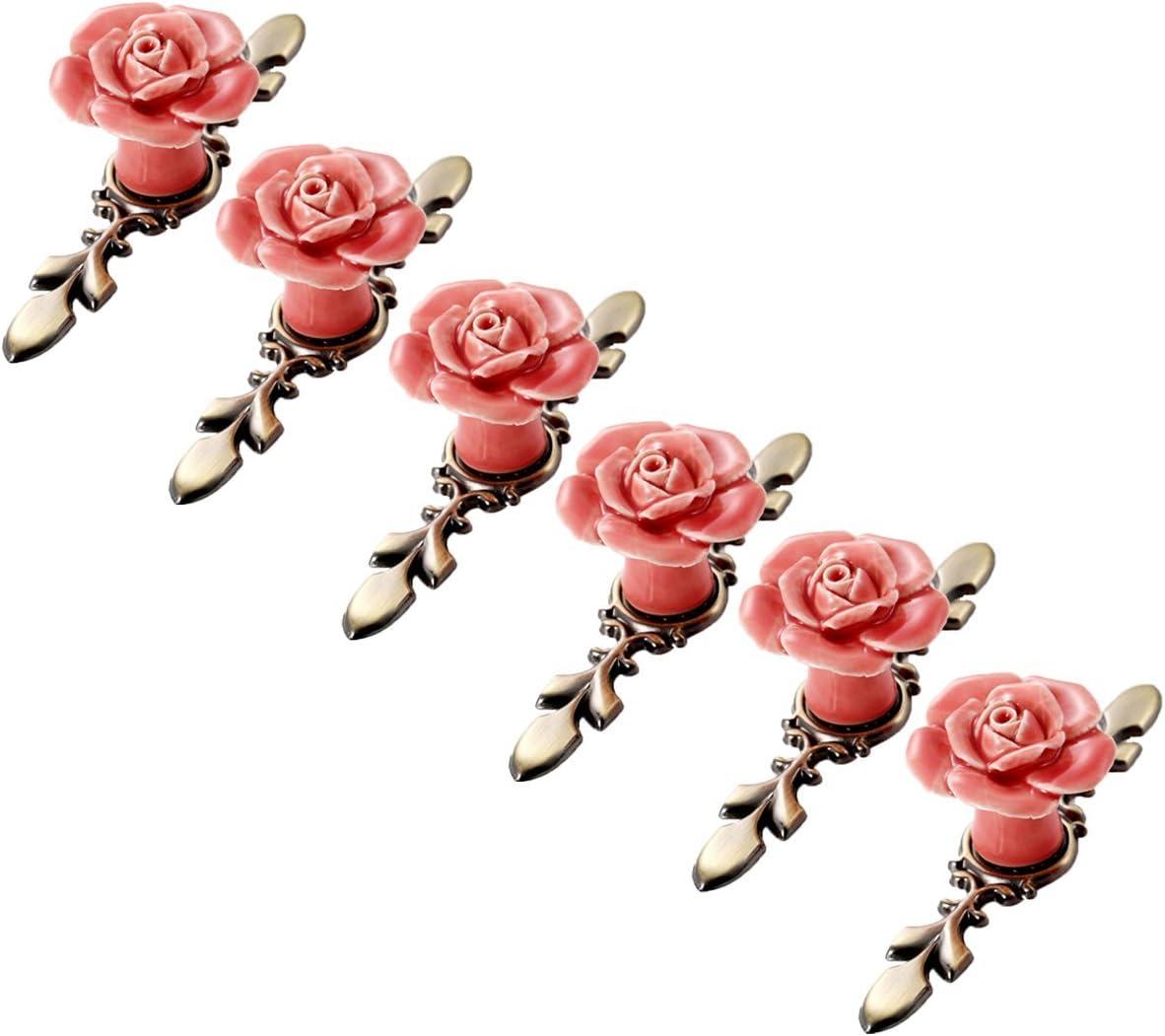 6pcs Creatwls Einloch Rose Muster Griff Schrankgriff Schubladengriff Keramik Antik Griff Ziehen M/öbelgriffe Knopf K/üchengriffe M/öbelknopf Griffe