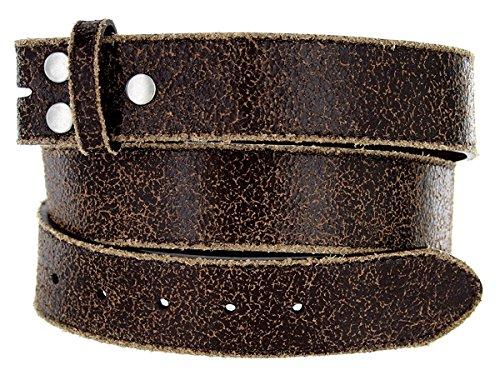 "Hagora Men 1.5"" Wide Retro Worn Out Design Triple Snap No Buckle Belt Strap,Brown 34"
