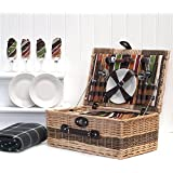 Buckingham 4 Person Luxury Wicker Picnic Hamper Basket & Green Traditional Waterproof Fleece Picnic Blanket with Built In Chiller Compartment & Accessories - Gift ideas for Mum, Valentines, Mothers Day, Birthday, Wedding, Anniversary, Business and Corporate Gifts
